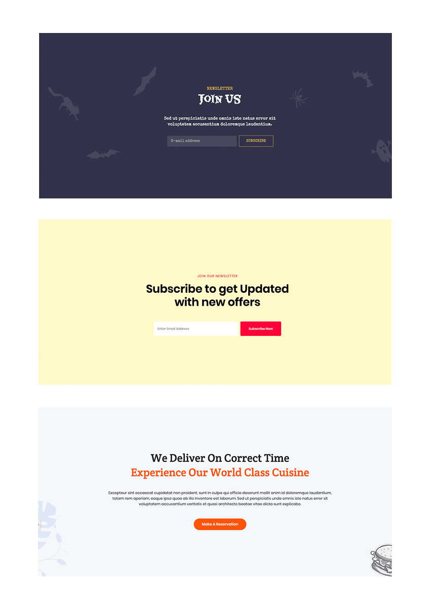Preset and custom Elementor templates CTA