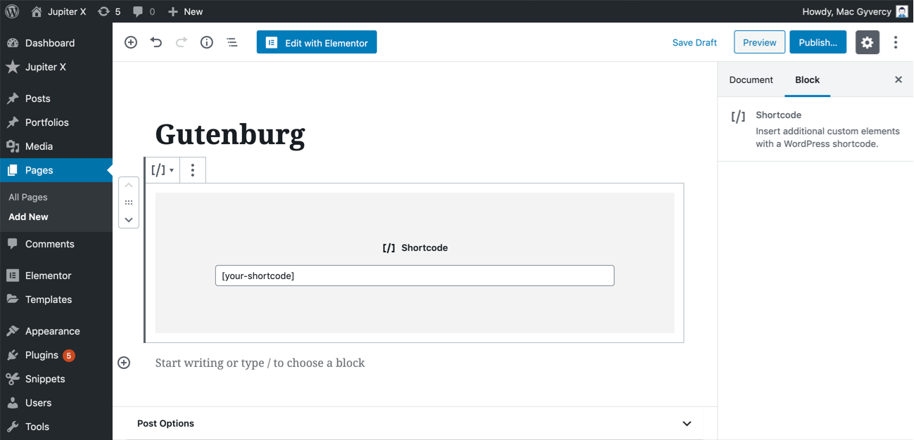 Shortcode in WordPress Gutenburg