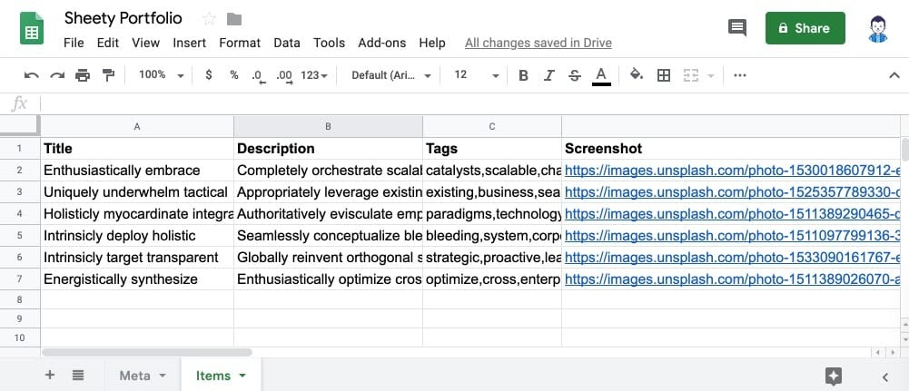 create a website with Google Sheets