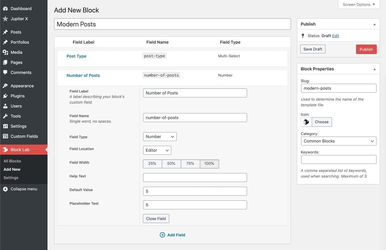 custom Gutenberg block with Block Lab