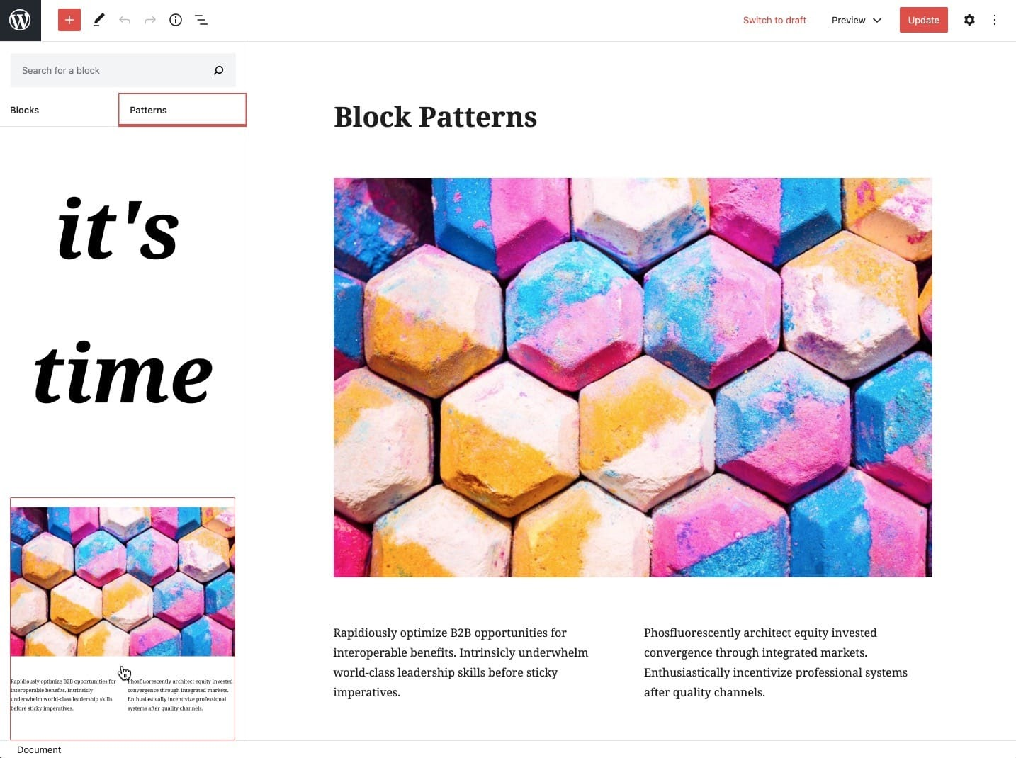 gutenberg block patterns