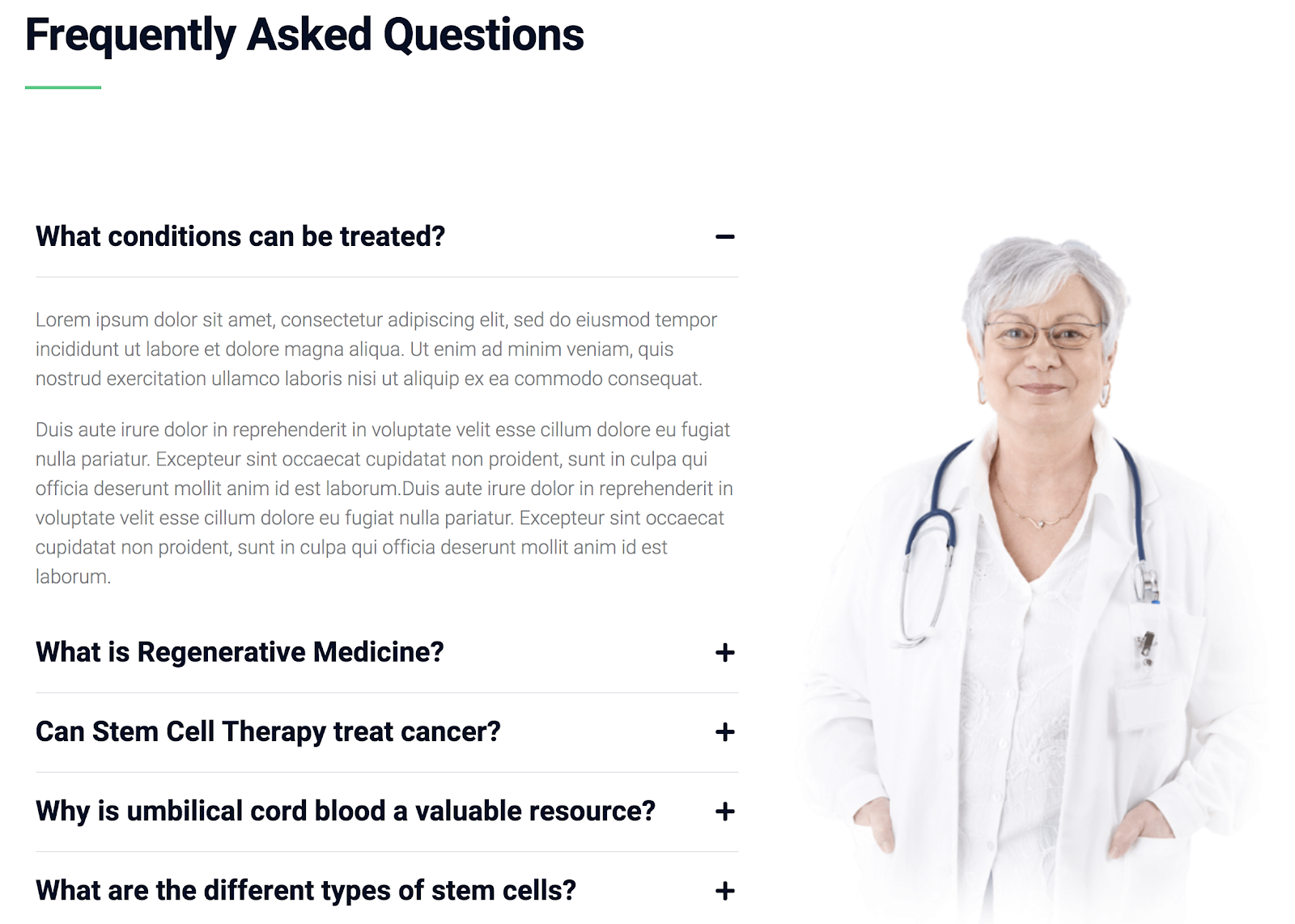create a medical website faq