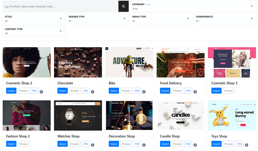create an online store in Jupiter X - templates