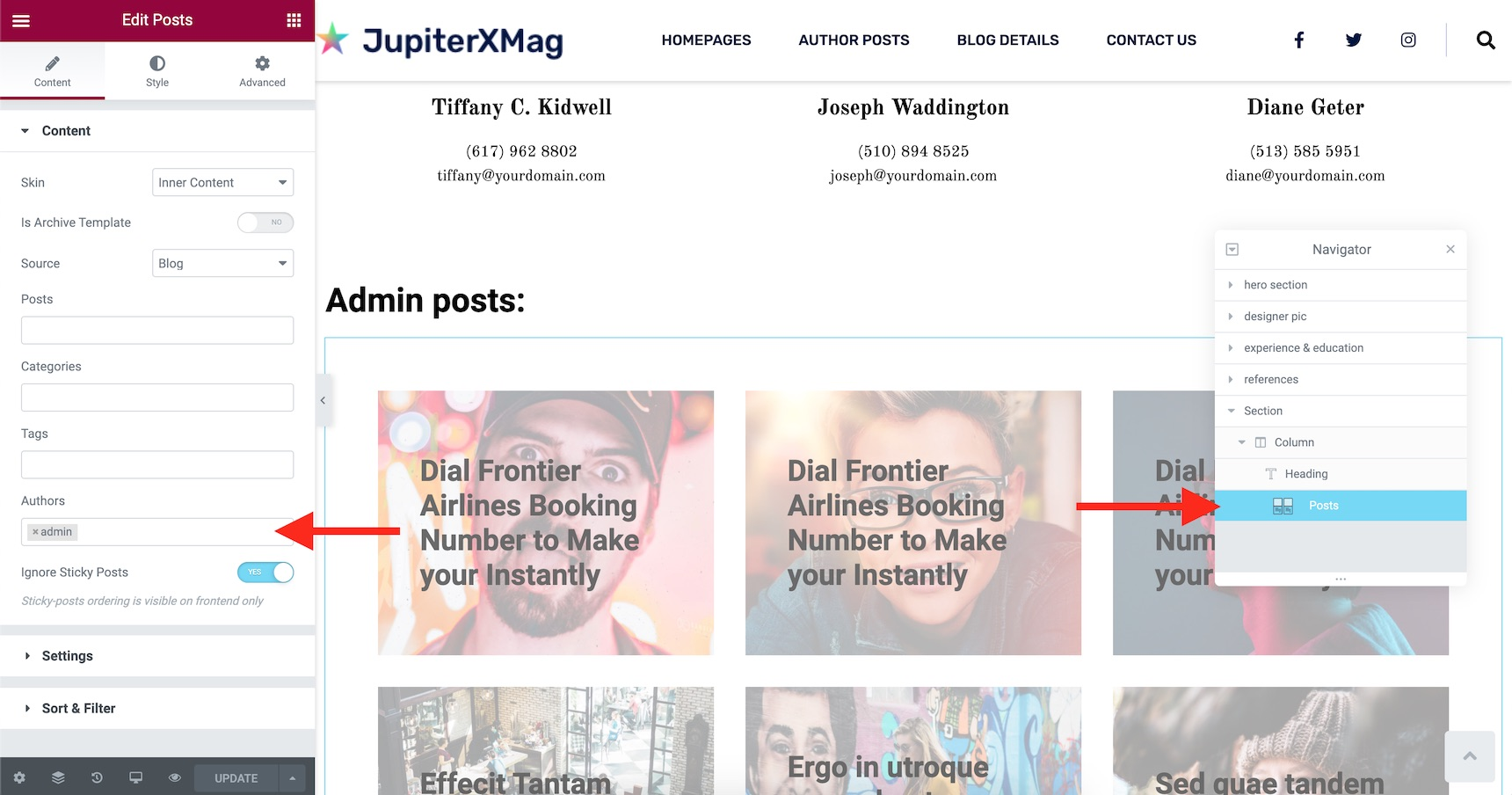 author's page in WordPress - add posts