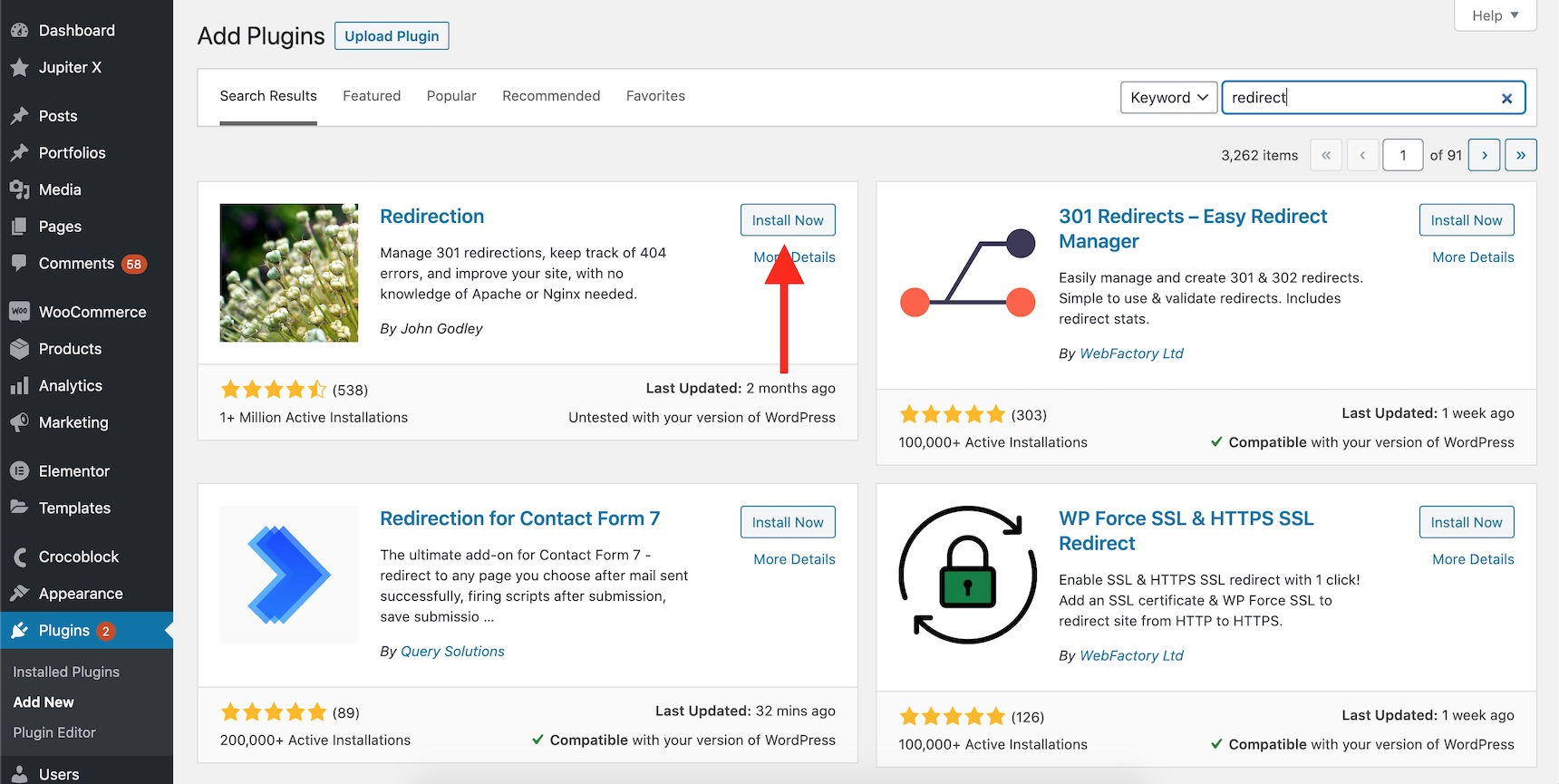 author's page in WordPress - redirection plugin