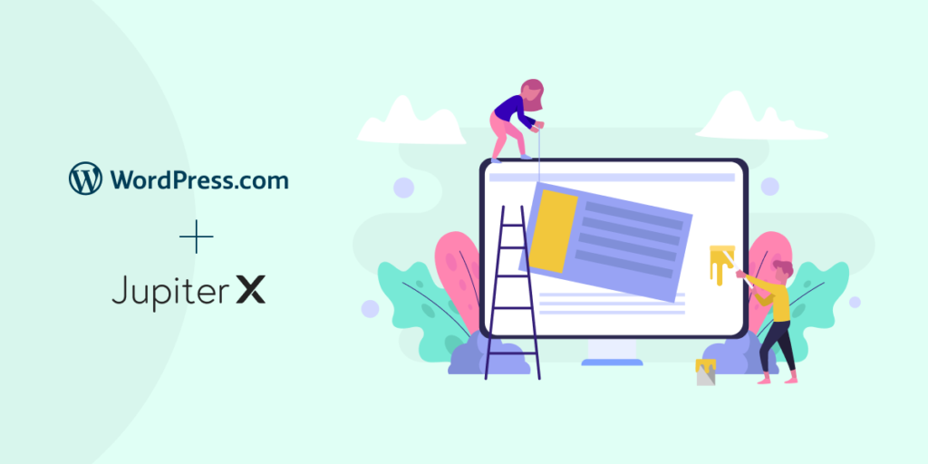 website with wordpress.com and jupiter x featured